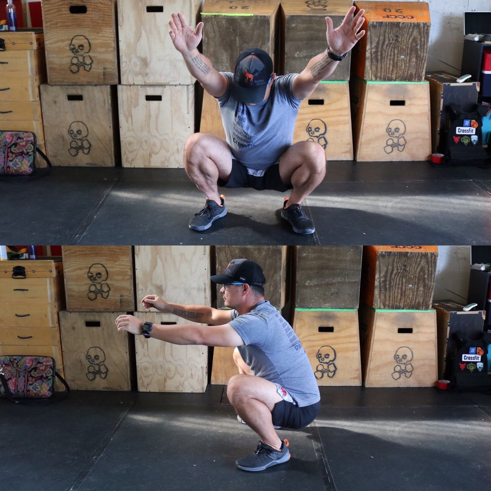 This is an example of a squat that is far below parallel or way too deep. If you don't stay supported in your muscles, that release of tension at the bottom range of motion (as seen by the posterior tilt in his hips at the bottom. This completely closed knee angle can also cause problems in the future.