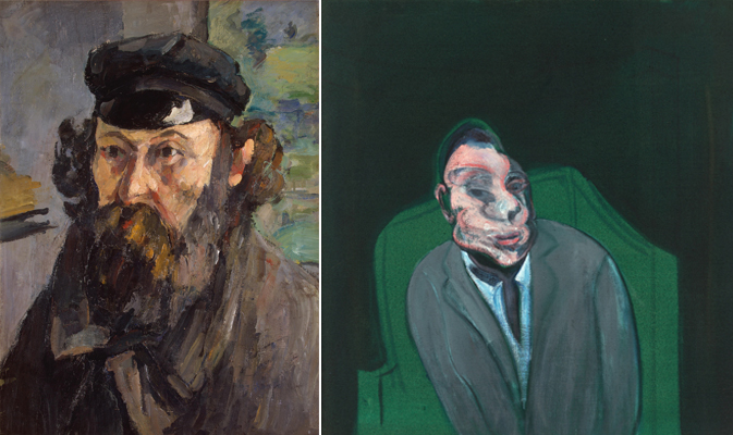 L. Paul Cézanne,  Self Portrait  (1873)  R. Francis Bacon, Head of a Man, (1960)