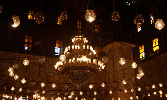 The massive center chandelier