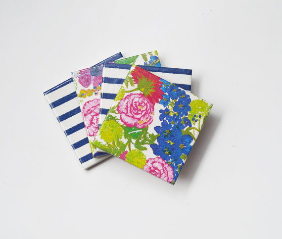 "Flowers and stripes coasters by ""Tilissimo"" in Greece"