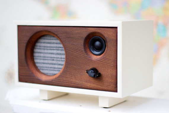 Reclaimed wood desk speaker by Salvage Audio in California
