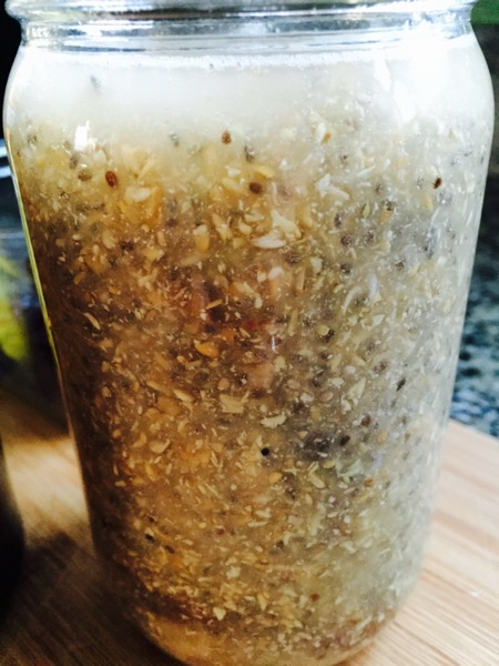 "This is what it looks like in the morning after going ""expando"" in the jar. These fibers absorb water, so fill a pint jar 3/4 full."