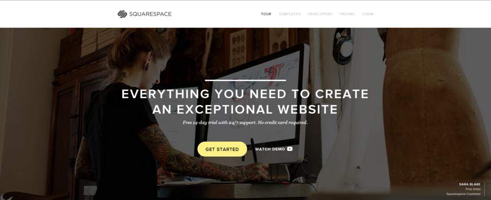 Squarespace homepage screenshot