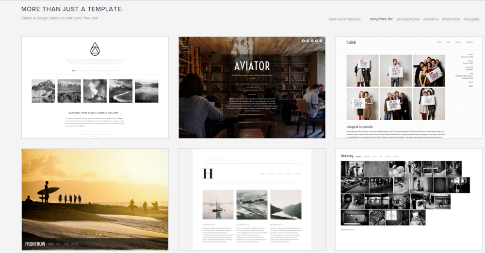 Squarespace template selection.