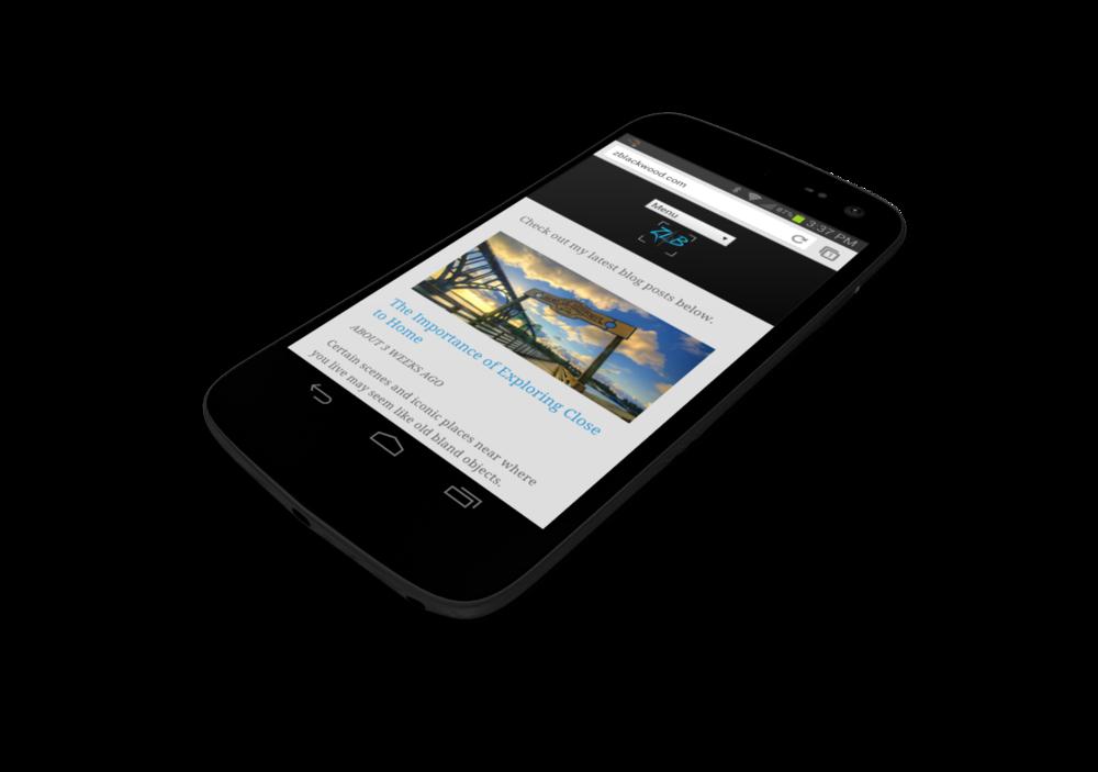 Mobile screenshot with menu