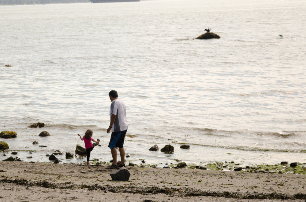 Niece and her father throwing rocks at the beach,