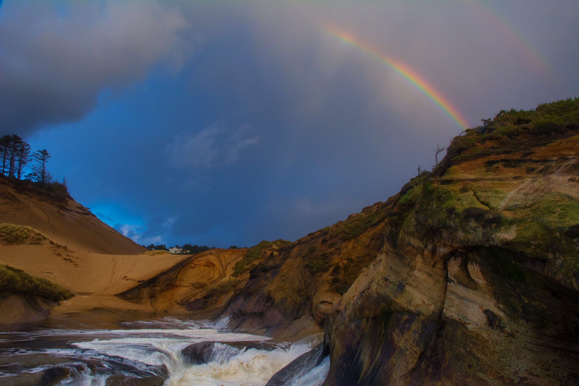 Rainbow at Cape Kiwanda just as the rain let up.
