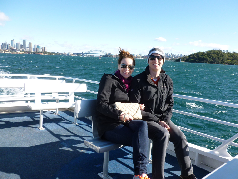 Mark and Lisa onboard the water taxi to Watsons Bay