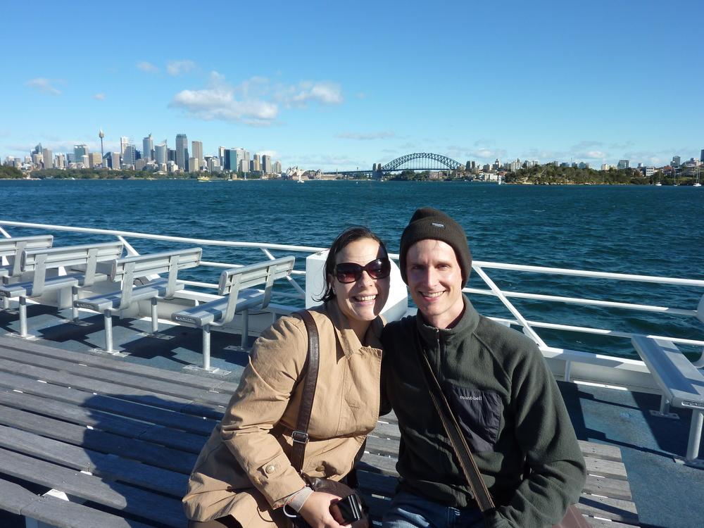 Chris and Mariela on the water taxi to Watsons Bay