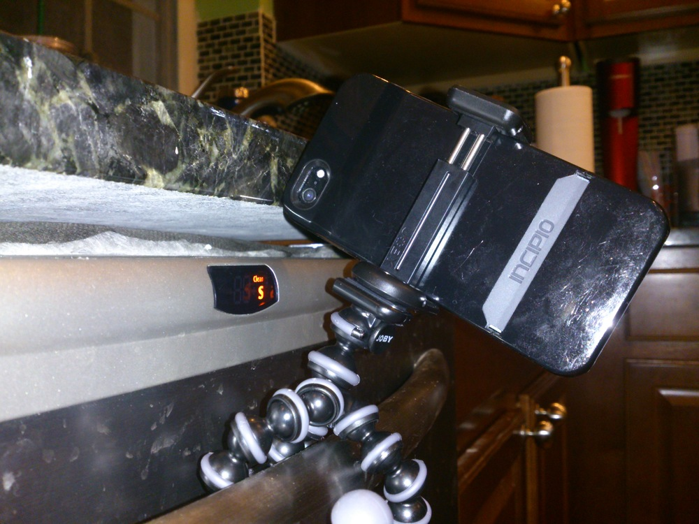 The GripTight Mount on a GorillaPod Original on my dishwasher