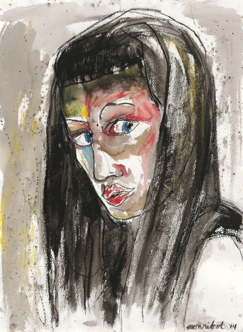 Lady K,  2014  Ink, charcoal, wax pastel on paper 22.5 x 30 inches