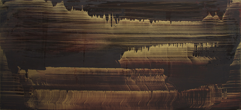 Untitled, 2010 Oil and gold dust on linen 24 x 52 inches