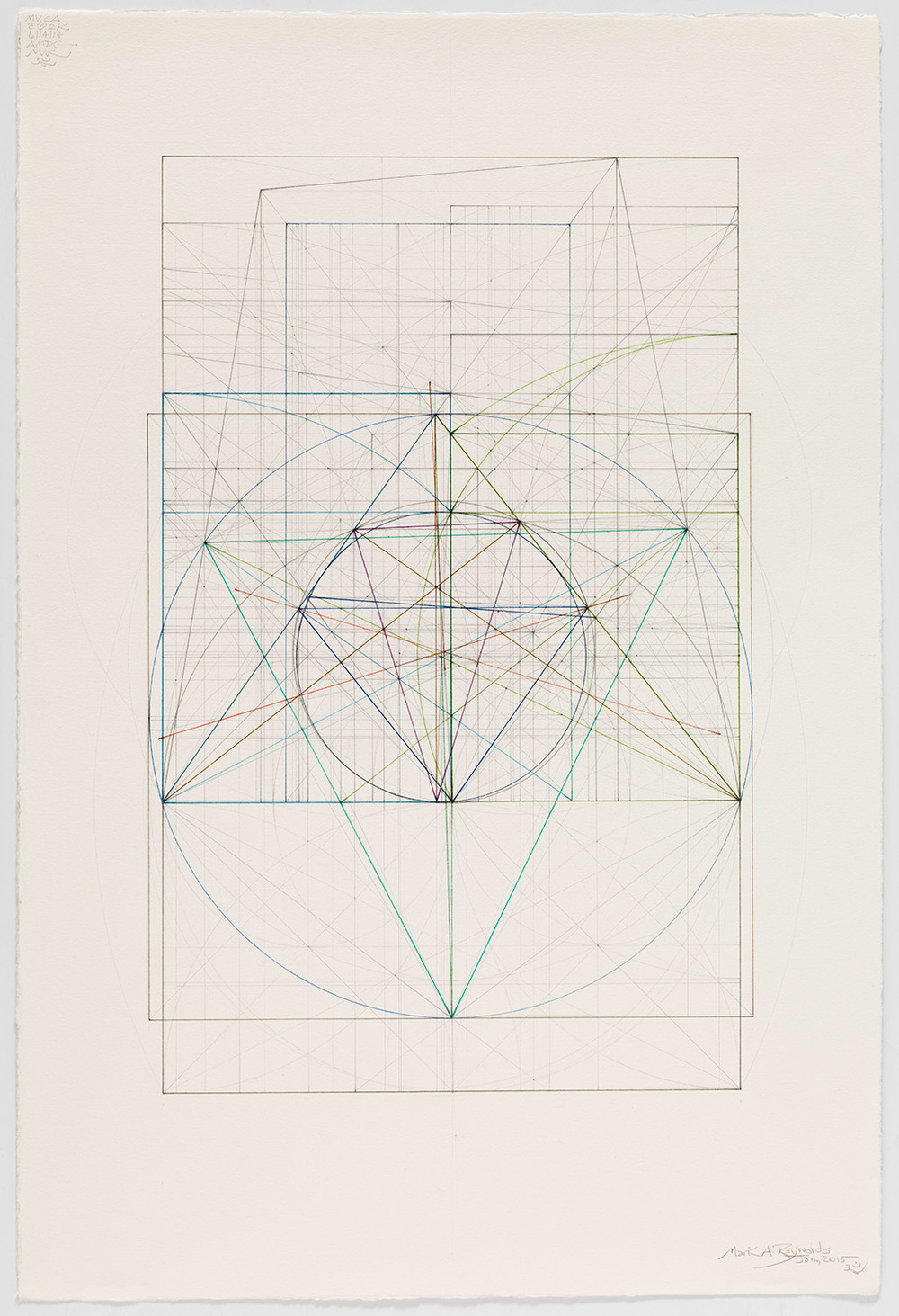 Marriage of Incommensurables Series: Sq Rt Phi and Sq Rt Two with the Nine Point Circle, 1.15    ,  2015  16.1875 in. x 12.375 in. (Sheet size: 22 in. x 15 in.) Graphite and colored inks on cotton paper