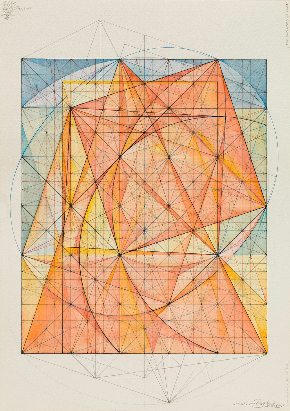 Minor Third Series: Gravitational Shadows, 5.11, 2011   14.5 in. x 12.75 in. (Sheet size: 16.625 in. x 14 in.) Graphite, colored pencils and ink on cotton paper