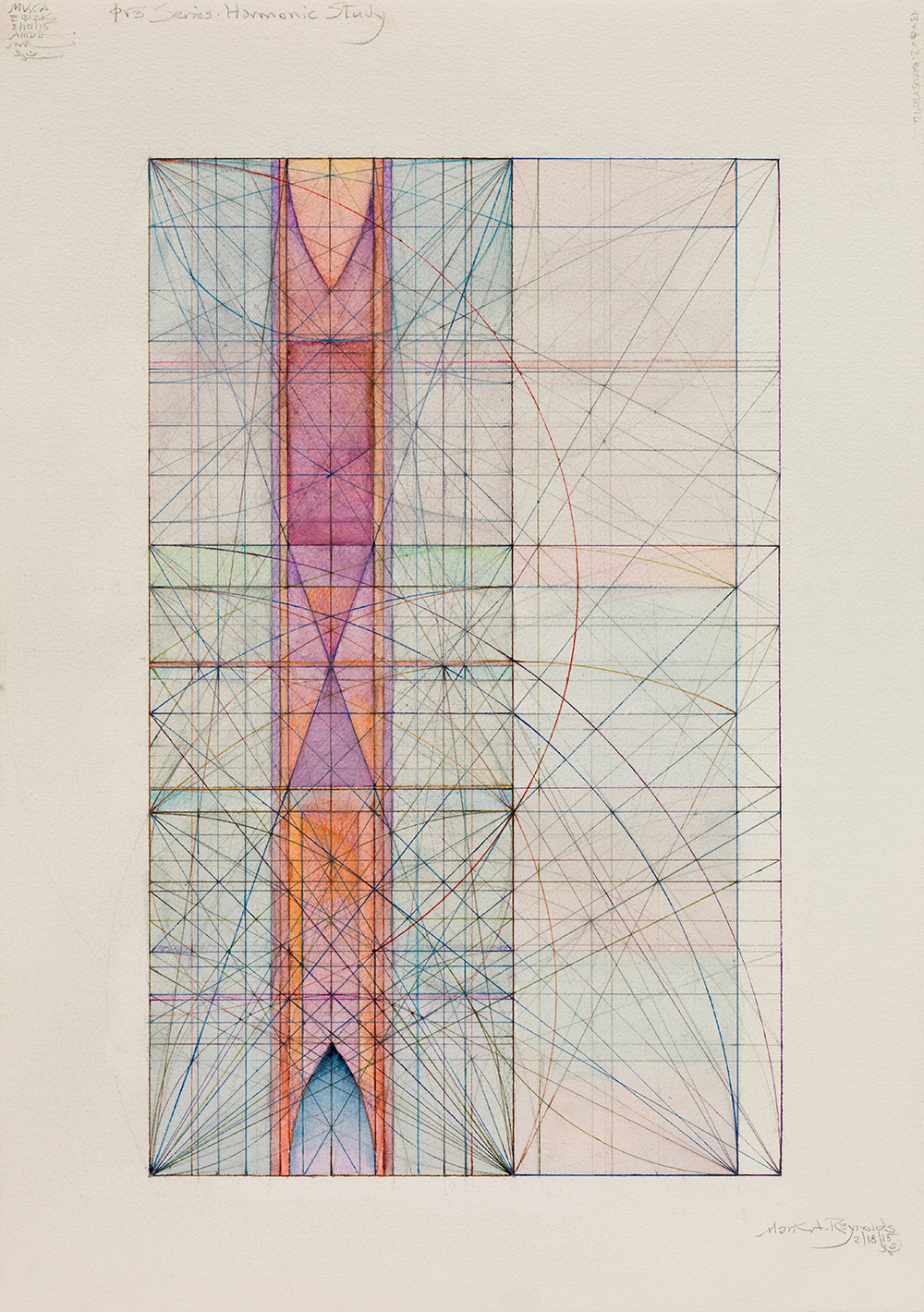 Phi Root Three Series with the Rho Rectangle (2.8025).2.18.15, 2015   5.5 in. x 10.25 in. (Sheet size: 22 in. x 15 in.) Colored ink, graphite, and watercolor on cotton paper