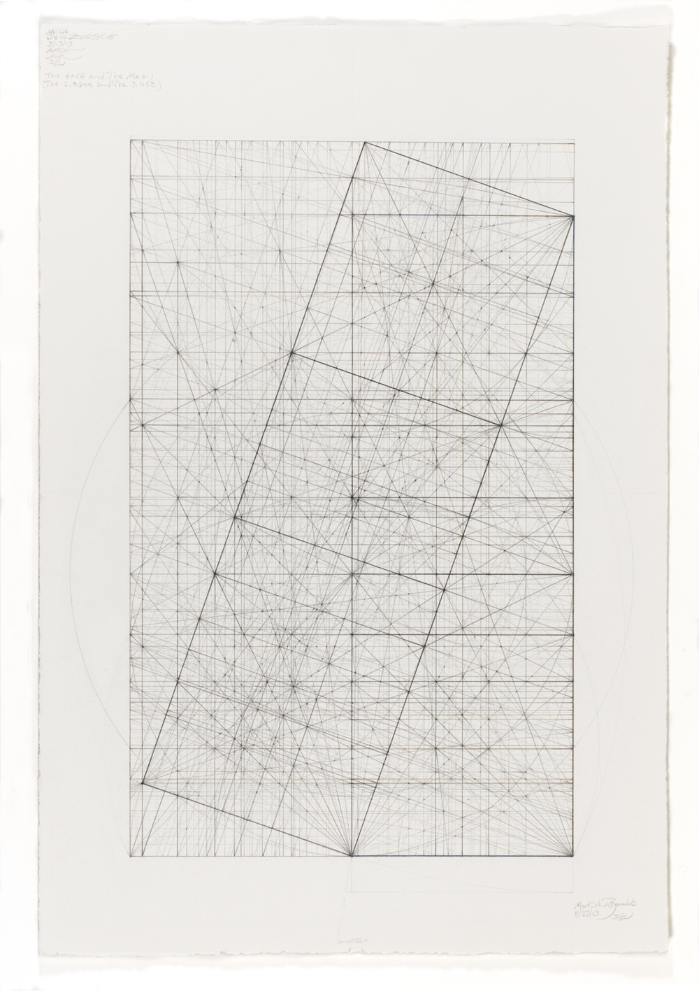 Phi Square Root Phi Series: 11.27.13, 2013   17 in. x 13.375 in. (Sheet size 22 in. x 15 in.) Graphite and ink on cotton paper