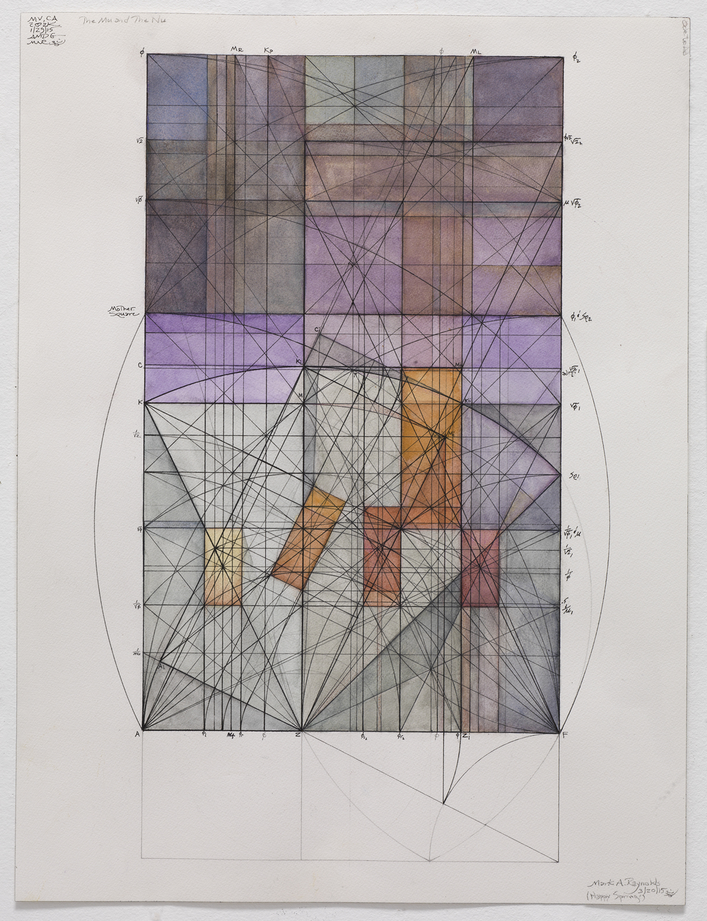 The Mu and the Nu in the Golden Section Rectangle, A, 3.20.15, 2015   21.75 in. x 14 in. (Sheet size: 24 in. x 18.125 in.) Watercolor, ink, and graphite on cotton paper