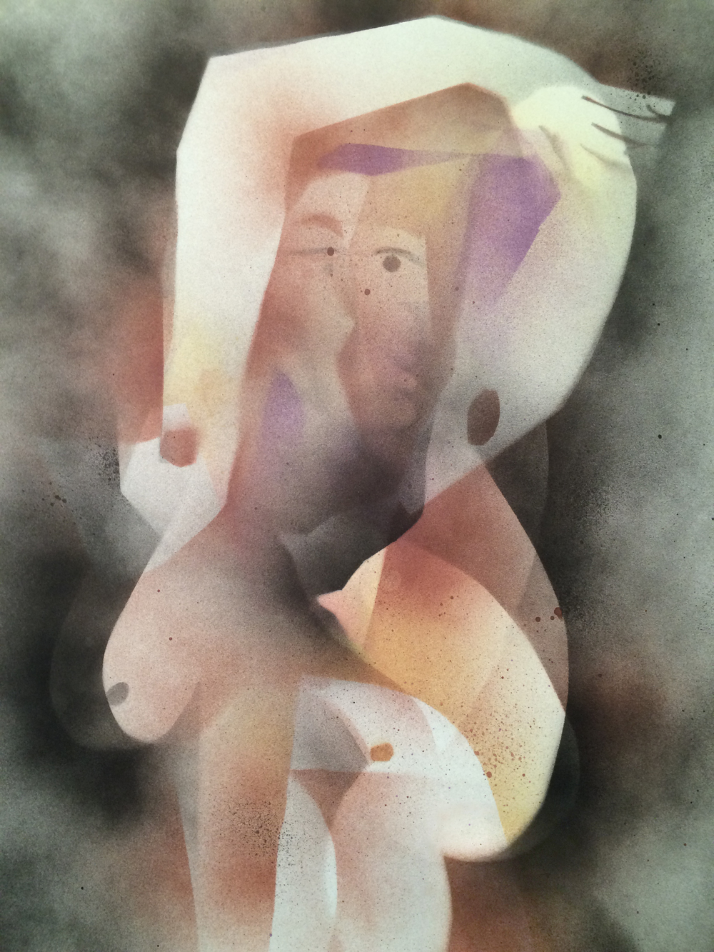 Daniel Sewell   Seated Nude 1 , 2015 spray paint on paper 23 x 16 in.