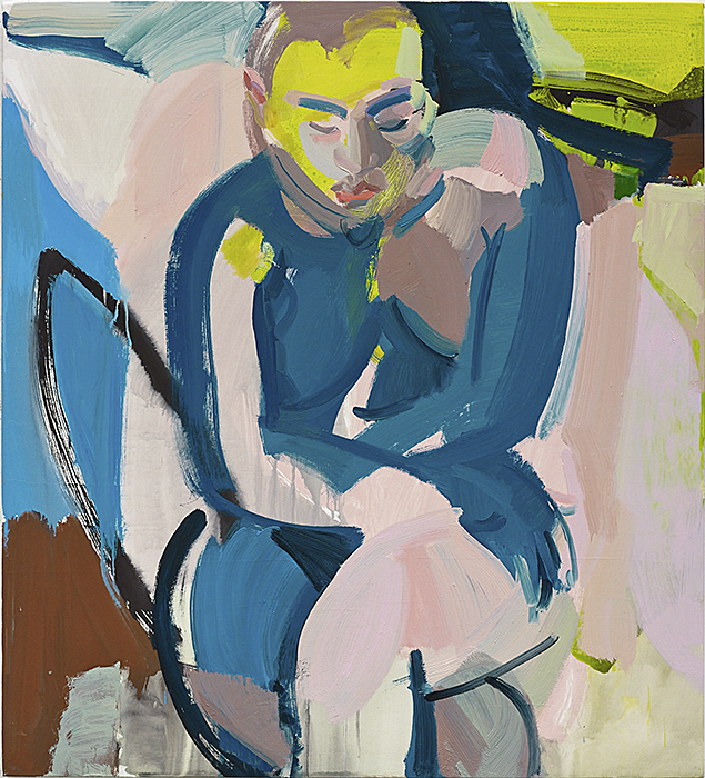 Seated Woman II, 2014 Oil and vinyl on canvas 42 x 38 inches