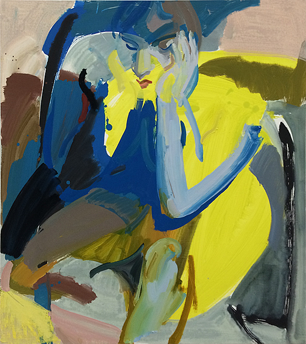 Seated Woman IV, 2014 Oil and vinyl on canvas 42 x 38 inches SOLD