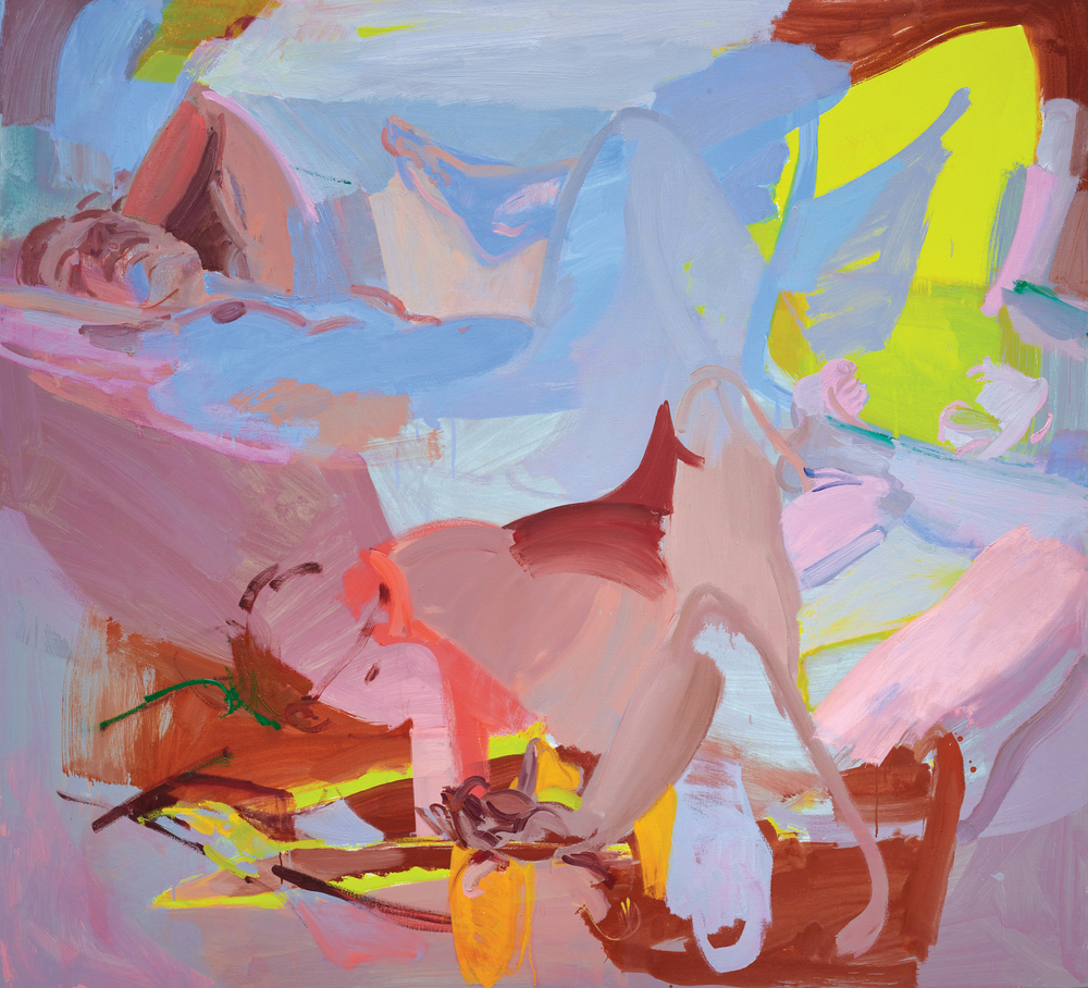 Sarah Awad   Reclining Women , 2014 oil and vinyl on canvas 60 x 66 in.