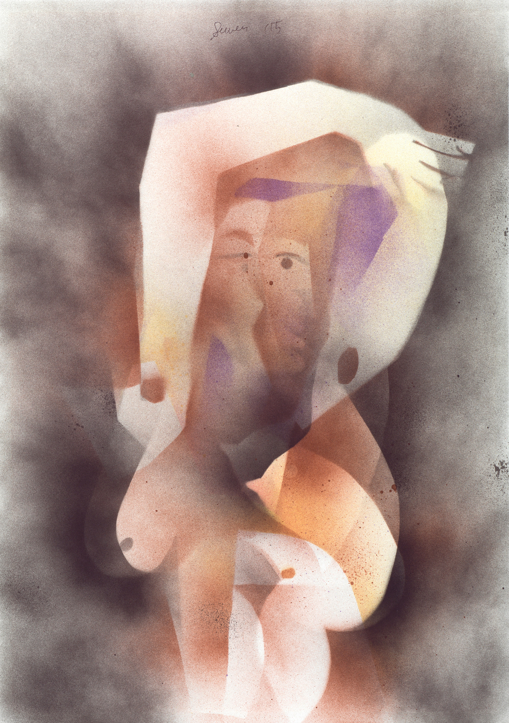 Seated Nude 1, 2015 Spray paint on paper 23 x 16 inches