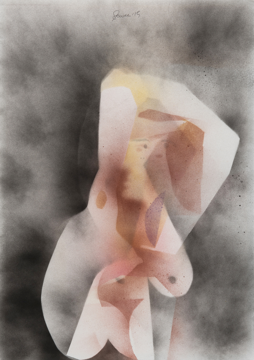 Seated Nude 3, 2015 Spray paint on paper 23 x 16 inches