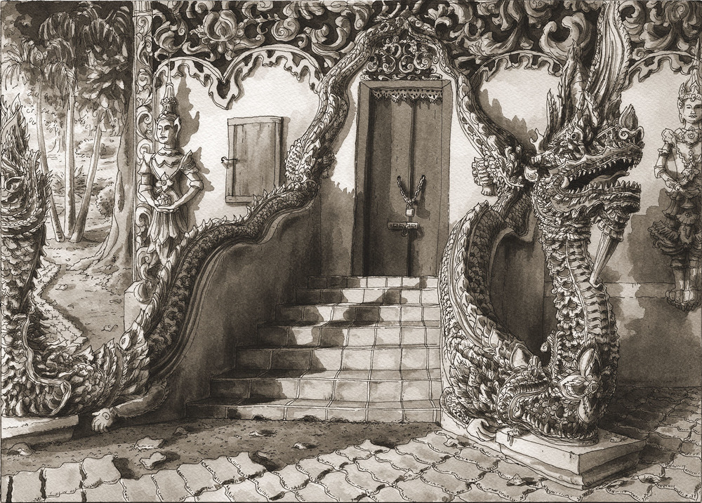 Close Enough for the Angels, Chiang Mai, Dragon Door  , 2010-2016 10 x 14 inches Pen and ink on watercolor paper SOLD