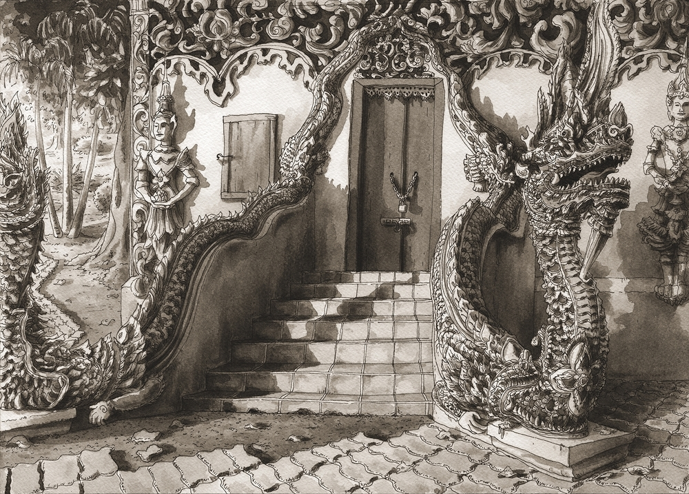 Close Enough for the Angels, Chiang Mai, Dragon Door , 2010-2016 Pen & Ink on watercolor paper 10 × 14 in