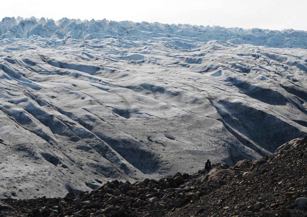 Francesca Buchko in front of one of Vatnajökull's glacial tongues. Photo by Chris Hajny