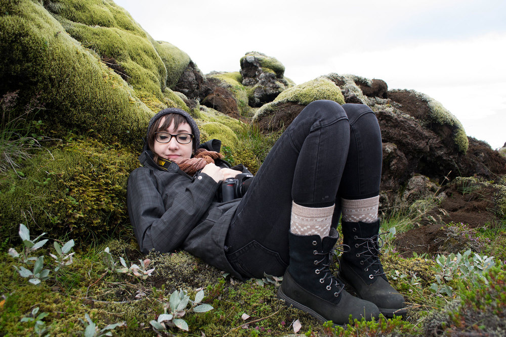 Teagan White cuddles up with some Icelandic Moss  -- from our 2014 residency Photo by Jenny Bookler