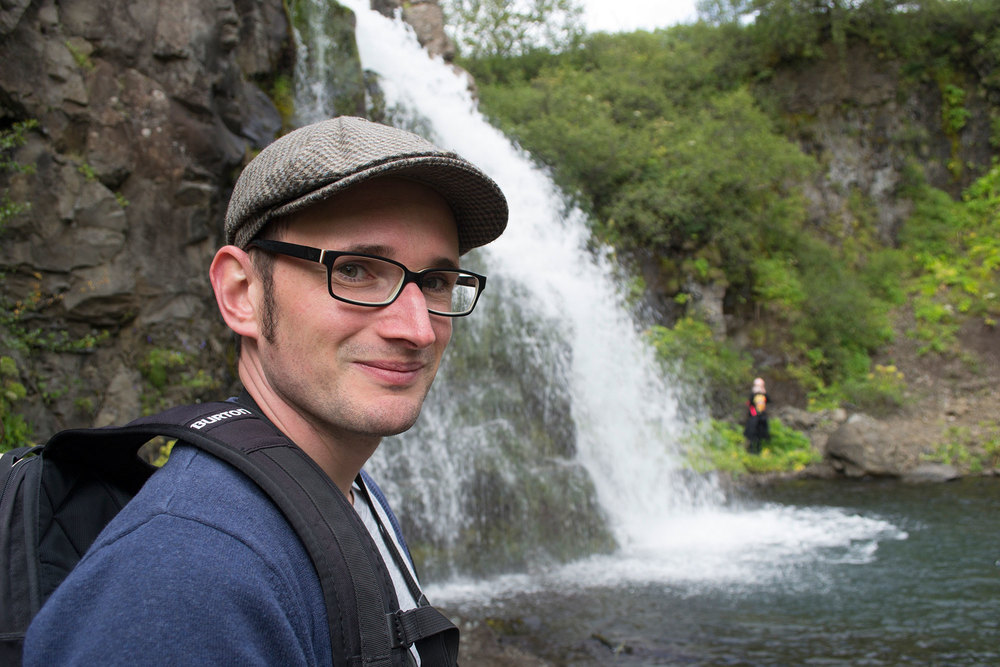 Manuel Kilger and Kali Ciesemier explore a hidden waterfall near Skaftafell National Park --2014 Iceland Residency Program