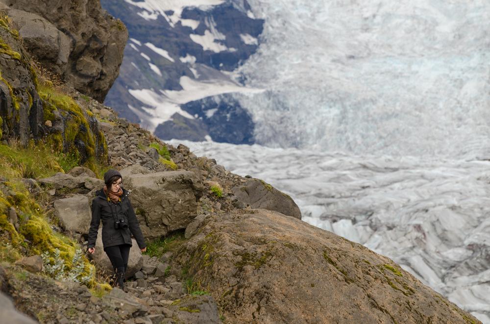 Teagan White strolling along the Vatnajökull glacier