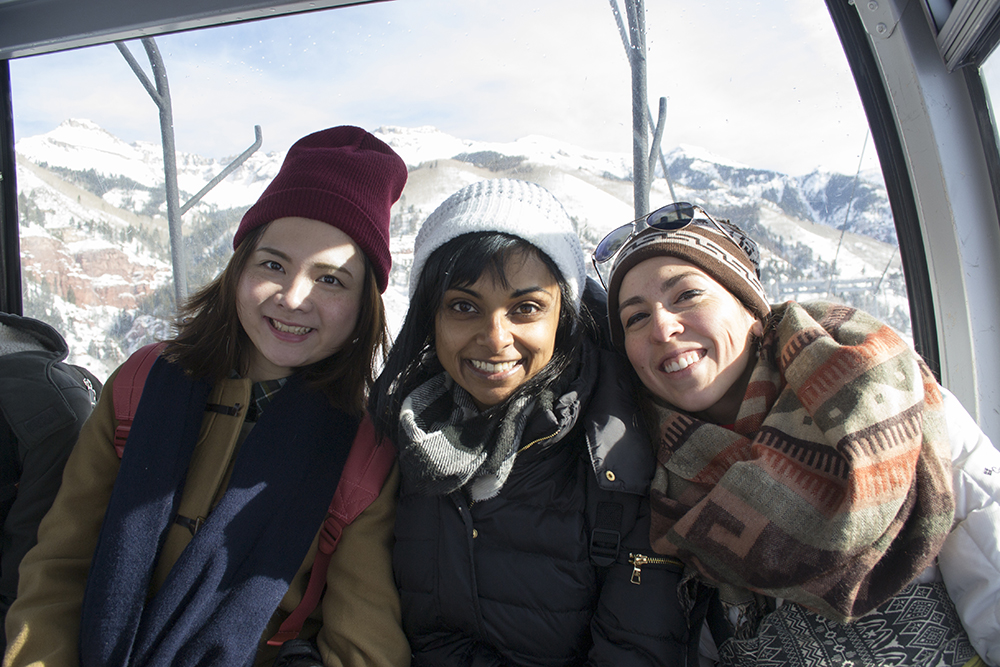 Yinfan Huang, Anuja Pothireddy, and Lindsay Nohl riding the gondolas in Telluride, Colorado.