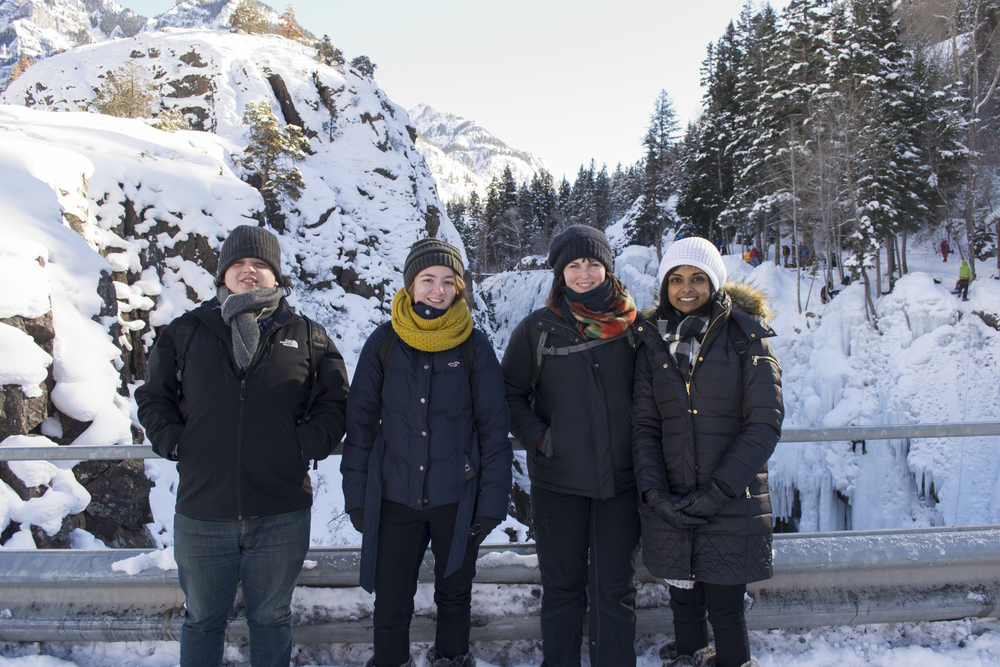 Artists explore the Ouray Ice Park.