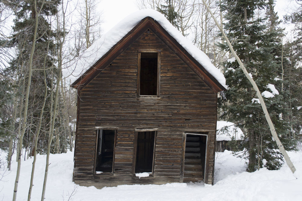 Snow-covered ghost town