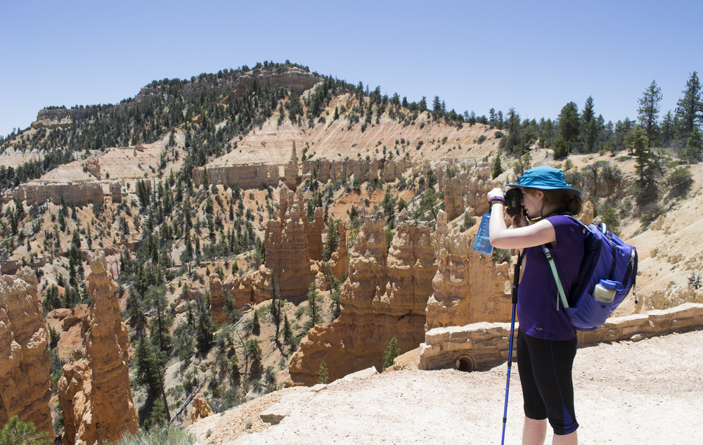 Hiking the rim trail around Bryce Canyon.
