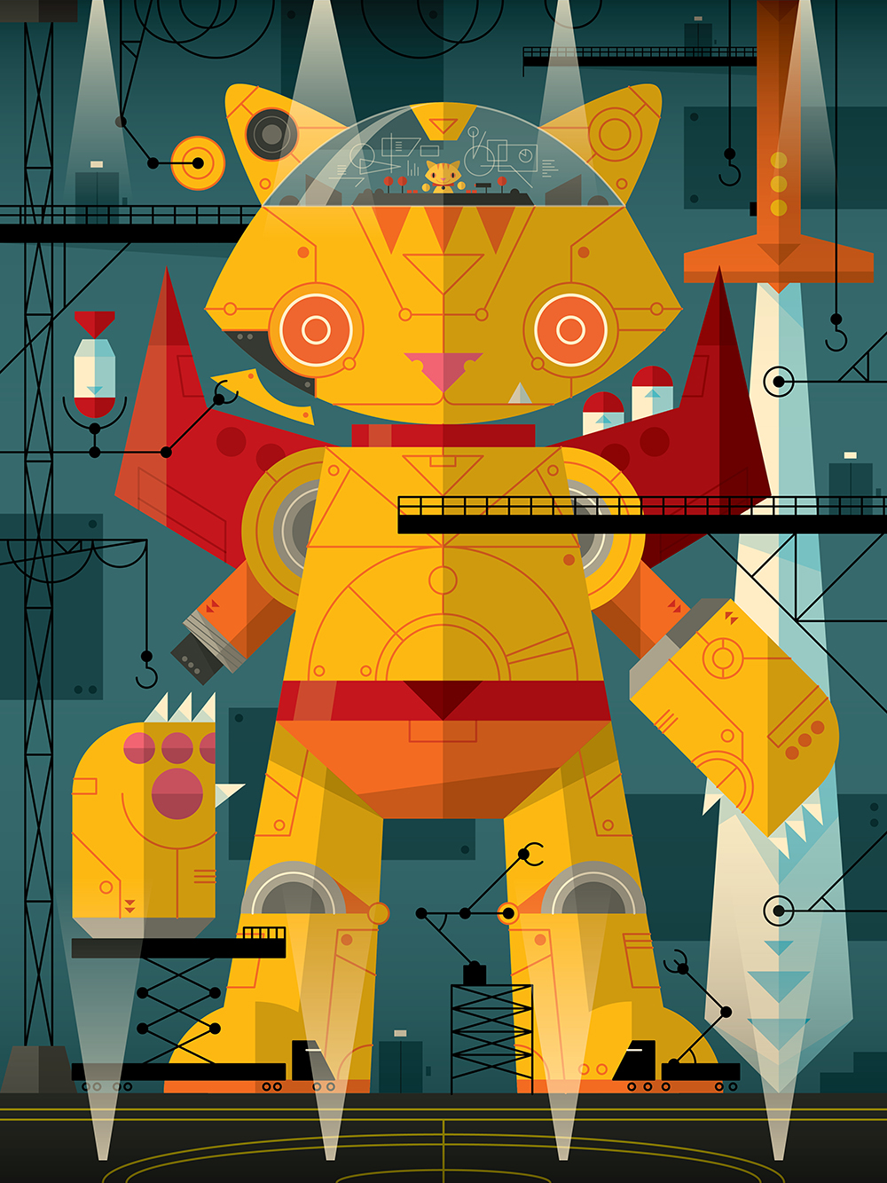"""A Mancat and His Robocat"" by Martin Gee"