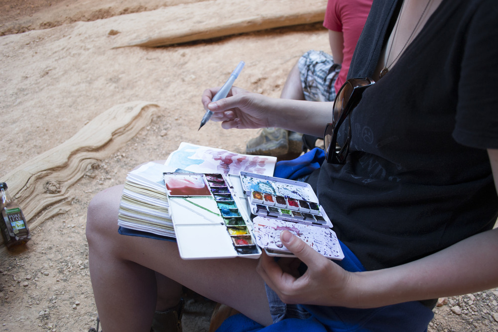 Artist, Francesca Buchko, finds a perfect place to sketch and paint.