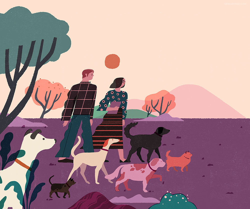 Geraldine Sy's work  Dog-Walking  for Weekend Magazine