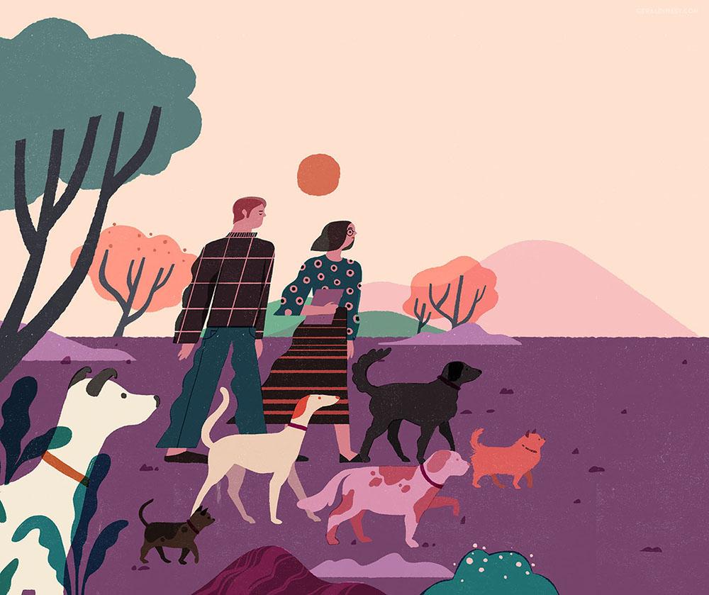 Geraldine Sy's work  Dog-Walking for Weekend Magazine
