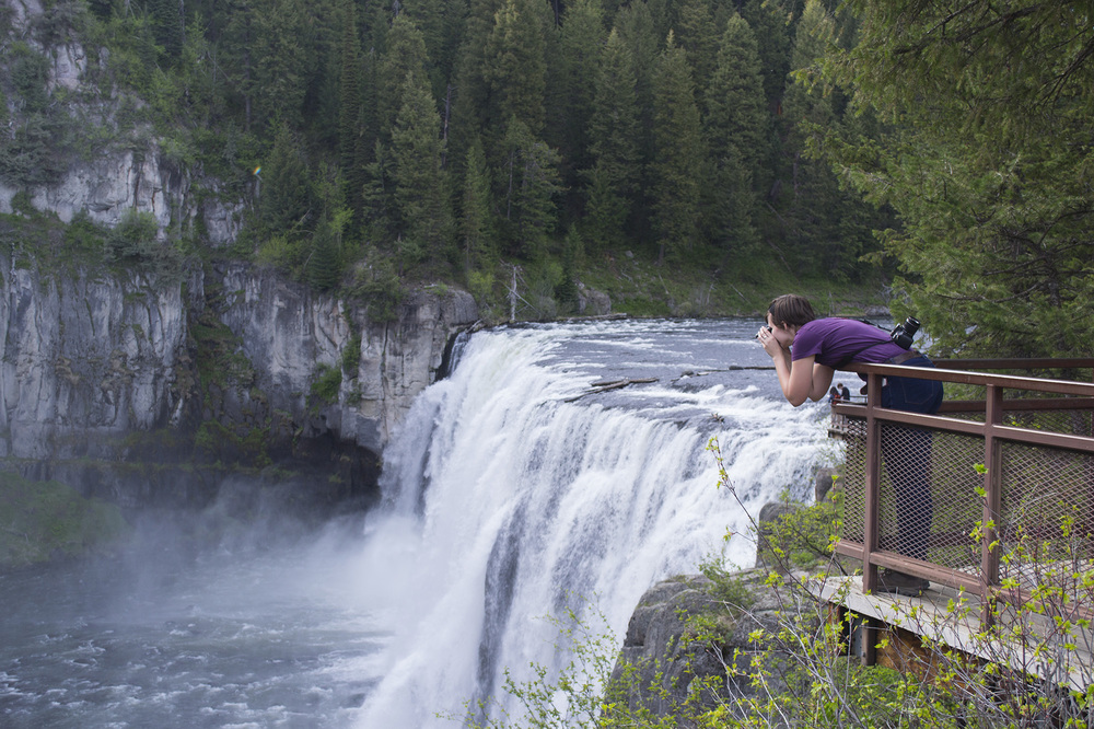 Artist, Kelsey King, overlooks Mesa Falls.