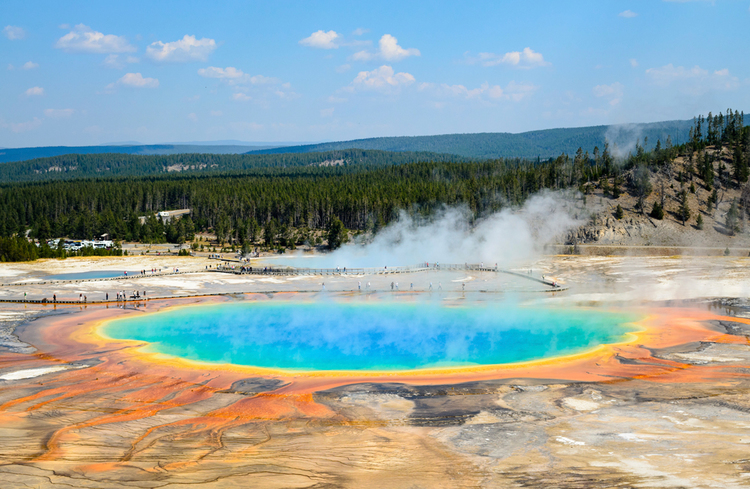View the incredible colors at the Grand Prismatic Spring
