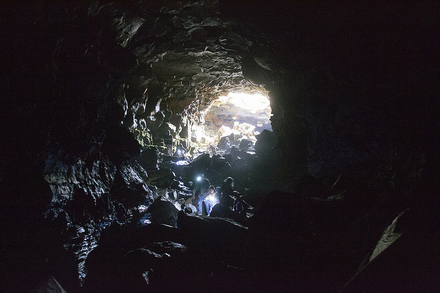 Team Mist climbs through the mouth of a 5km deep lava tube
