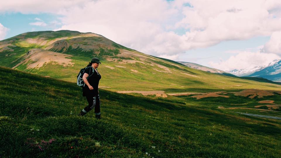 Claire Hummel hiking through Northern Iceland.