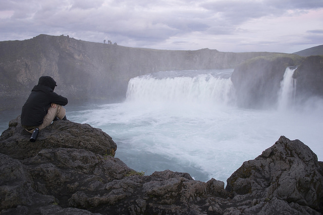 Casey Hunt looking over Goðafoss, Northern Iceland.