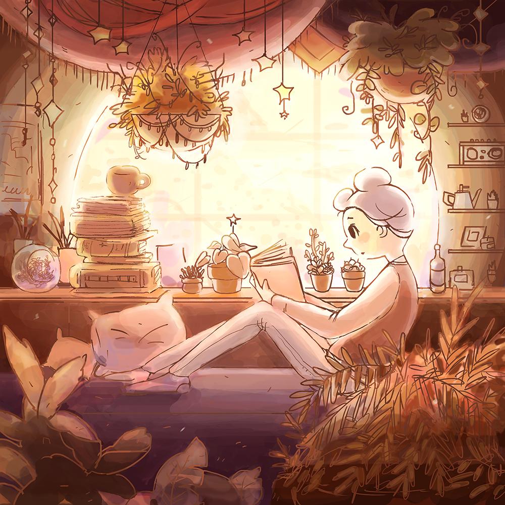 """""""Celeste Studying"""" by Mira Ko"""