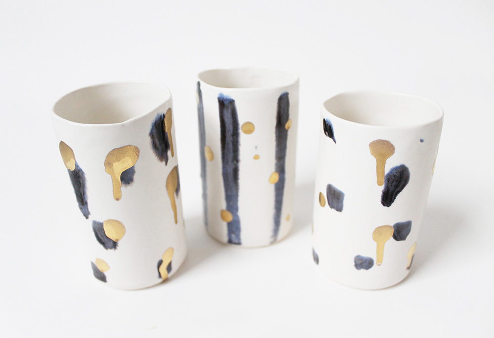 """Black, White, and Gold Tumblers"" – Janelle Gramling"
