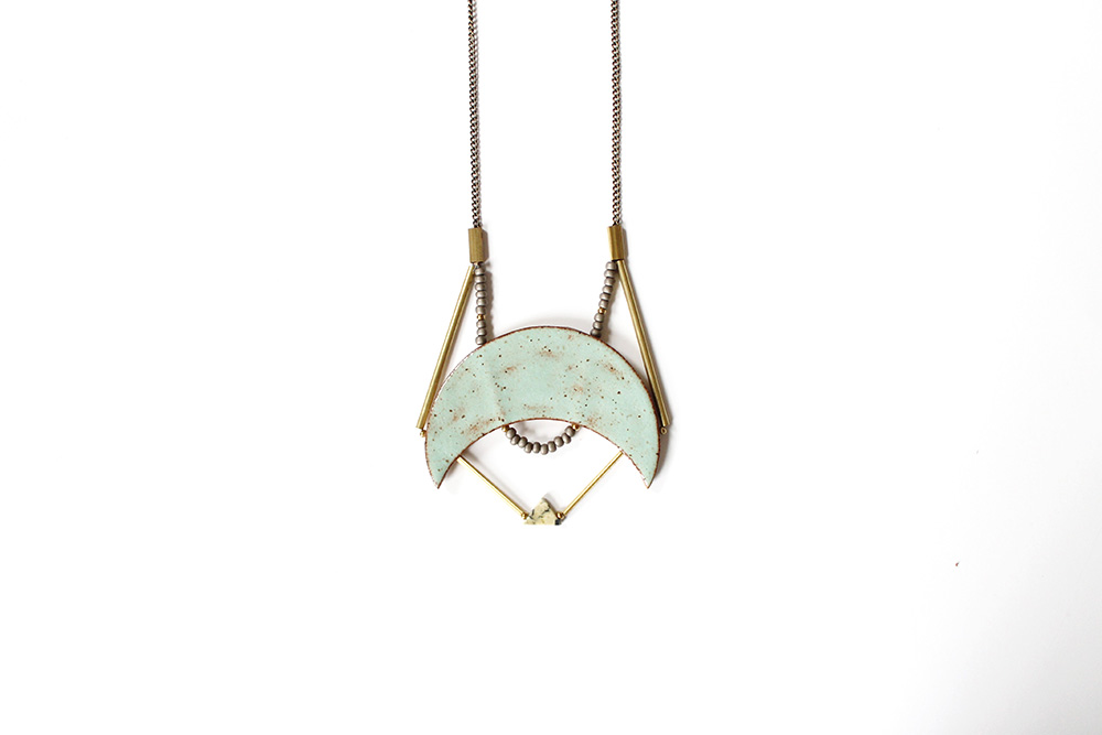"""Caged Crescent Necklace"" – Janelle Gramling"