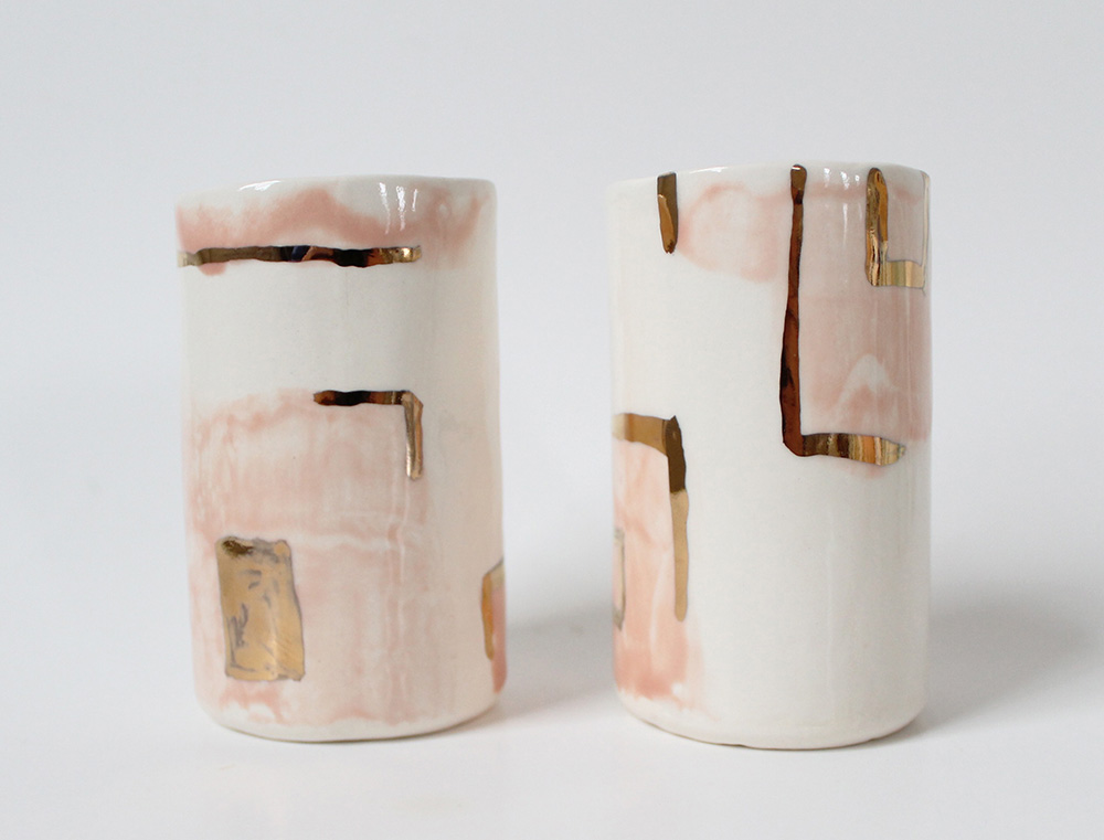 """Pink & Gold Square Tumblers"" – Janelle Gramling"